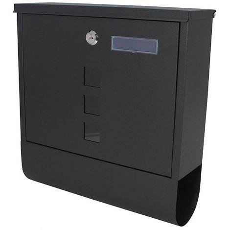 Melko Boîte aux lettres Design avec compartiment à journaux 30x33,5x10cm boîte aux lettres murale noire avec peinture antirouille résistante aux intempéries