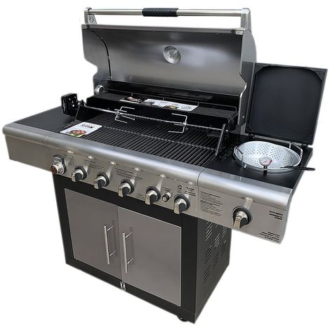 Melko BRINKMANN Gas Barbecue 6+1 stainless steel barbecue grill barbecue trolley BBQ side stove burner barbecue trolley garden barbecue garden
