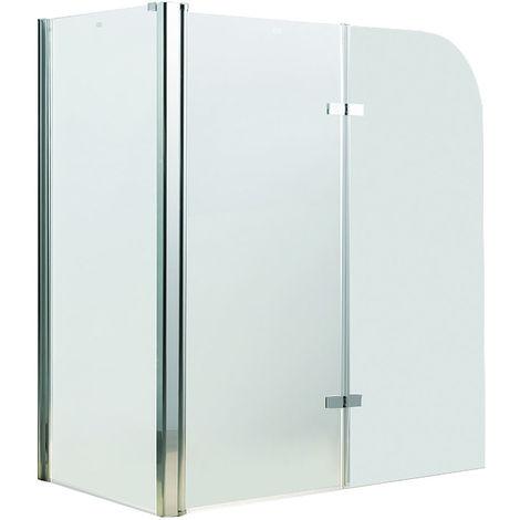 Melko Cabine de douche Plan de baignoire en verre de sécurité ESG 5 mm, pliable, 68 + 120 x 140 cm, verre clair, accessoires inclus