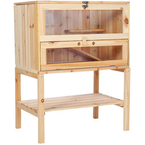 Melko Cage pour petits animaux en bois, 60 x 80 x 40 cm, avec rampe pliable, 4 étages, cage à rongeurs villa hamster cage à souris