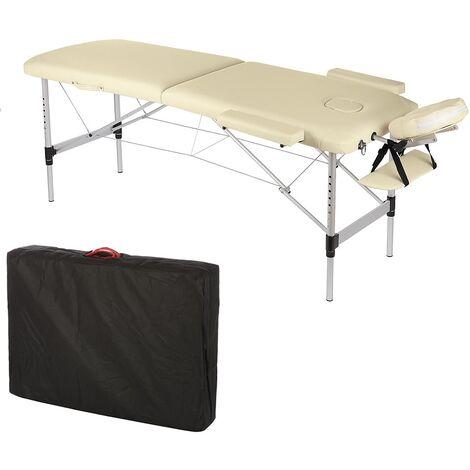 Melko Canapé de massage canapé de massage professionnel 2 zones en aluminium et bois, pliable et réglable en hauteur, crème - avec housse de protection