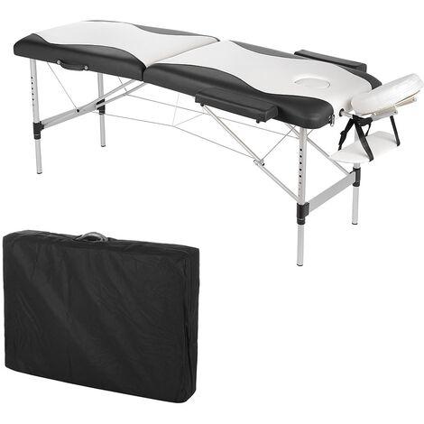 Melko Canapé de massage Canapé portable Profi-2 zones en aluminium, pliable et réglable en hauteur, blanc / noir - avec housse de protection