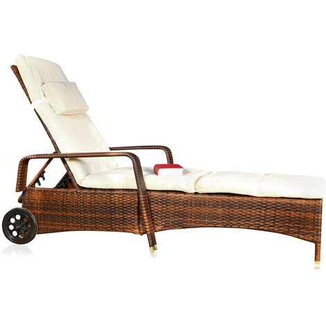Melko Chaise longue de jardin avec support Chaise longue de plage avec roues Chaise longue de jardin étanche Chaise longue en rotin