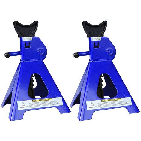 Melko Chariots 4X pour voitures, fourgons, camping-cars, capacité de charge de 3t en fonte, 9 niveaux de réglage en hauteur, 28 - 41 cm, bleu noir
