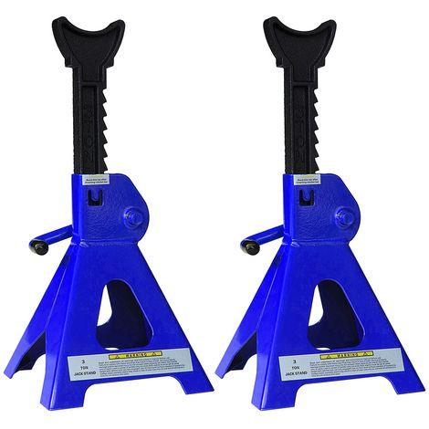 Melko Chariots pour voitures, 2X, voiture, transporteur, camping-car, capacité de charge de 3t en fonte, 9 marches réglables en hauteur, 28 - 41 cm, bleu noir
