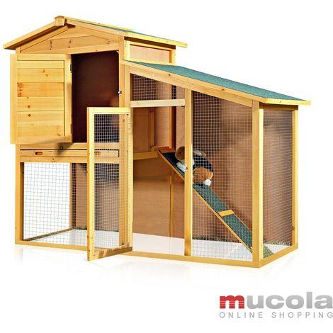Melko Clapier XXL pour petits animaux avec enclos extérieur, env. 140 x 115 x 60 cm, en bois, avec 1 rampe