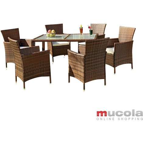 Melko dining set in rattan - garden set with 6 chairs and garden table with glass top set with upholstery, seating group, garden furniture for balcony, rattan furniture