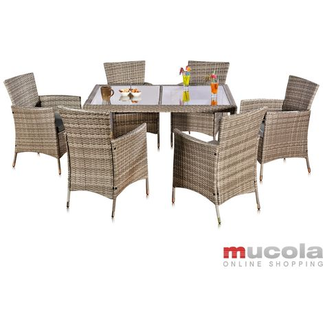 Melko dining set in rattan - garden set with 6 chairs and garden table with glass top sitting set with upholstery, seating group grey, garden furniture for balcony, rattan furniture