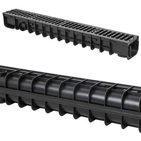 Melko Drainage Channel Drainage channel C250, 1 meter, cast iron grating - suitable for DN75 and incl. adapter for DN110