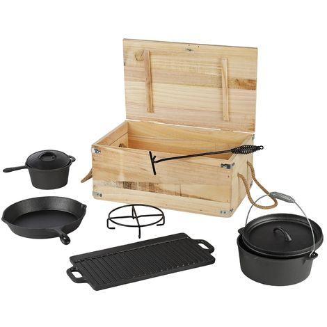 Melko Dutch Oven Set with pot 7 TLG. BBQ pan grill plate cast iron pot stand for grilling, roasting, cooking, baking or stews