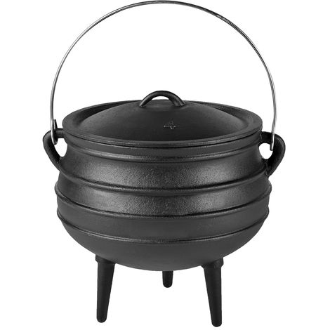 Melko Dutch Oven with lid and lid lifter made of cast iron, BBQ pot for grilling, roasting, cooking, baking or for stews, 14 liter