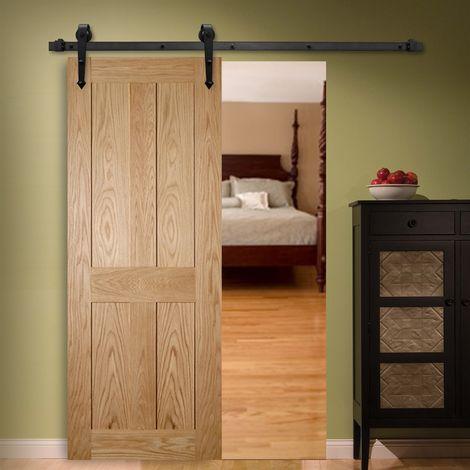 Melko Ferrure de porte coulissante rustique en fer pour portes coulissantes avec rail de roulement lisse et matériel de fixation, jusqu'à 90 kg, 183 cm de long, noir