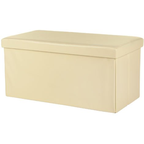 Melko Folding bench imitation leather 75 x 37 x 37 cm Seat chest Storage chest with lid can be loaded up to 150 kg