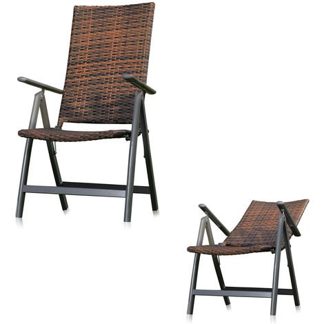 Melko folding chair with adjustable backrest of polyrattan, brown, approx. 57 x 70-112 x 108 cm