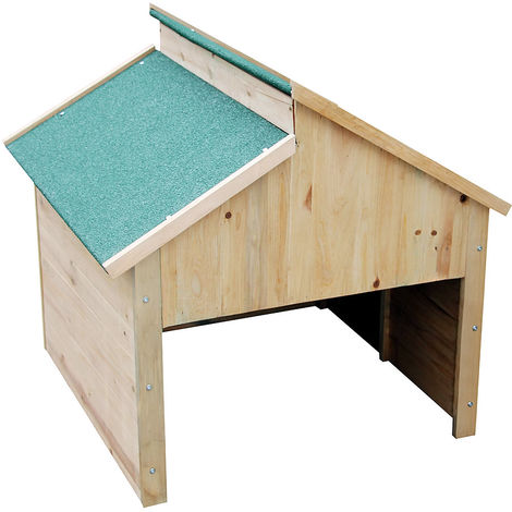 Melko Garage Carport Covering made of wood for mowing robots, roof in green, 85 x 85 x 82,5 cm - offers protection against heat, UV rays, rain and much more.