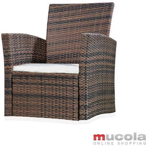 Melko garden armchair Polyrattan weatherproof, incl. seat cushion, brown
