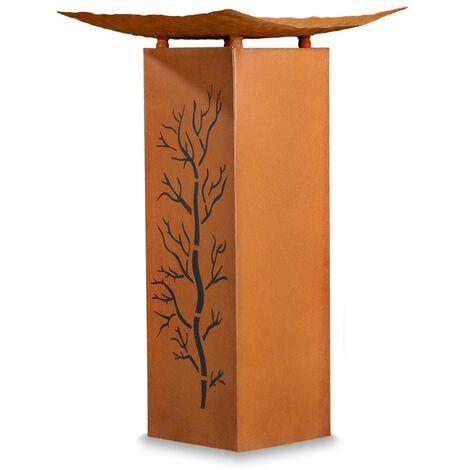 Melko Garden Decorative Column with Metal Fire Bowl Stainless Steel Optics Fire Column NEW