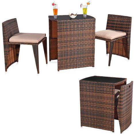 Melko garden furniture 3er set garden set rattan bar set garden seating set space saving balcony set seating group
