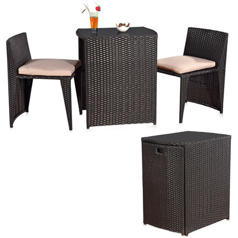 Melko garden furniture set made of rattan - seating group for the garden, consisting of table and two chairs, collapsible, quickly stowed away, space-saving, weatherproof