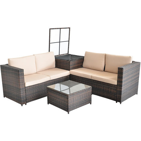 Melko garden lounge set corner sofa with glass table and storage box Polyrattan lounge 185x185CM