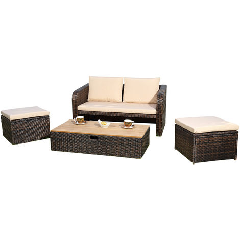 Melko Garden Set Lounge Rattan furniture Sofa set with glass table made of polyrattan, brown, incl. upholstery, multi-piece