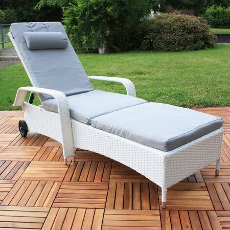 Melko Gartenliege Weiß Polyattan Sonnenliege Terrassenliege Relaxliege Liegestuhl ??