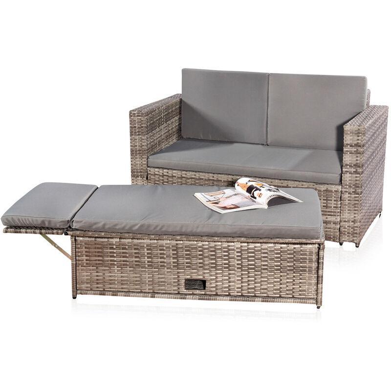 Sitzgruppe mit Tisch klappbar Grau Polyrattan Sitzmöbel Gartenset Sofa Bank ?? - Melko