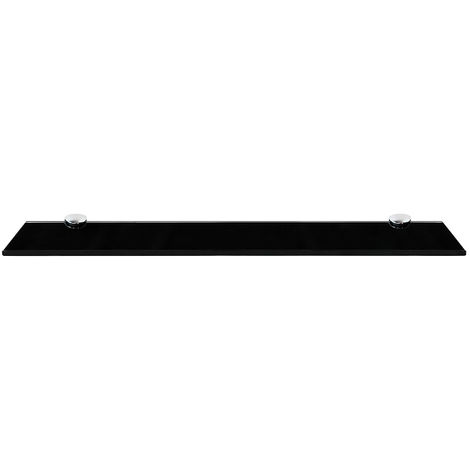 Melko glass shelf, glass shelf ideal for bath, shower and for modern decoration with stainless steel holder 60 x 10 x 0.8 cm, black