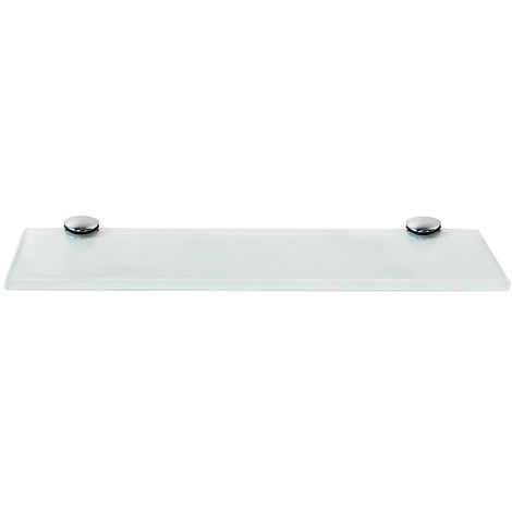 Melko glass shelf, glass shelf ideal for bath, shower and for modern decoration with stainless steel support 30 x 10 x 0.8 cm, white