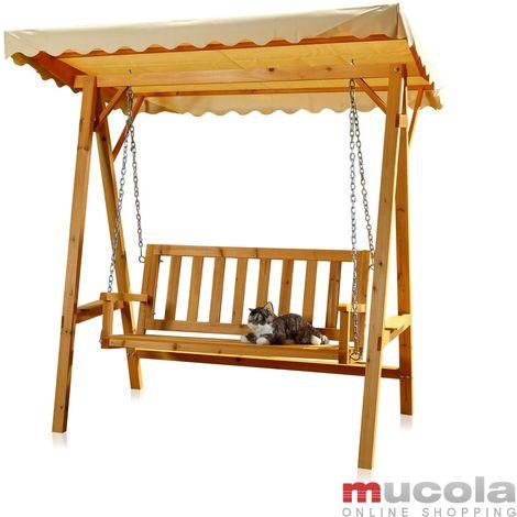 Melko Hollywood balançoire en bois 188 x 161 x 88 cm chaise longue balançoire de jardin balançoire suspendue banc de balançoire
