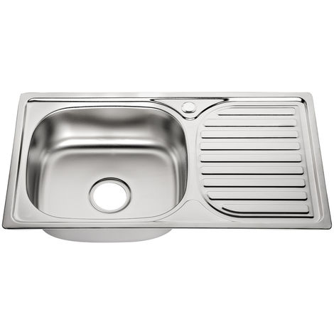 Melko kitchen sink sink stainless steel sink round built-in sink stainless steel incl. drain set and siphon