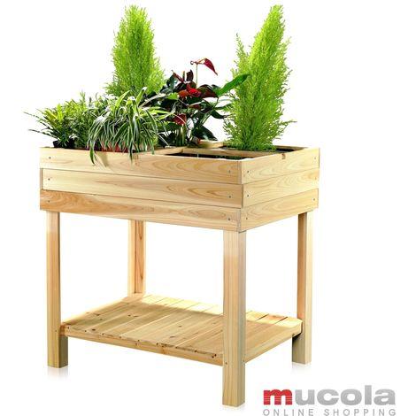 Melko lit haut en bois - bac à plantes pour l'intérieur, le balcon, la terrasse et le jardin, cadre froid à 4 compartiments, avec étagère, idéal pour les plantations, 80 x 60 x 80 cm