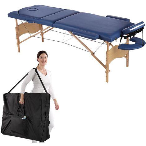 Melko Lits de massage bois 3 zones divan de massage pliable table de massage en cuir PU de première qualité divan de thérapie portable bleu