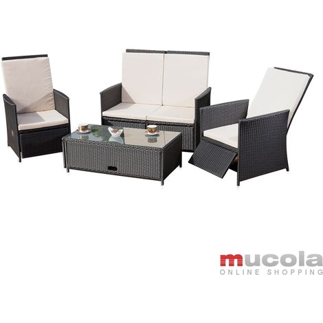 Melko Lounge garden set rattan furniture seat set with glass table made of polyrattan, black, incl. upholstery, multi-piece
