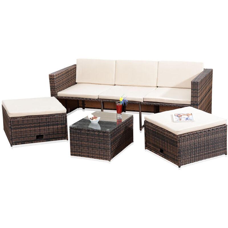 Lounge Gartenset, Polyrattan, Sofa-Garnitur mit Glastisch, inklusive Kissen, Braun - Melko