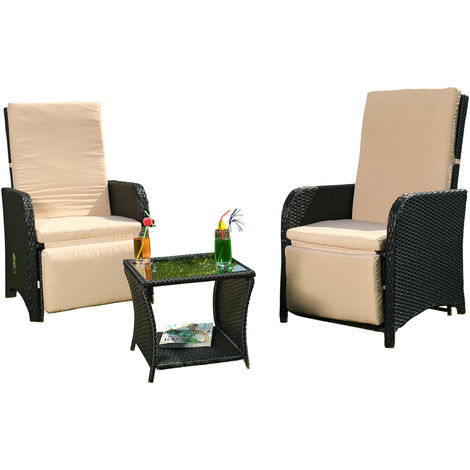 Melko Lounge Seating Set Garden furniture made of polyrattan, black, incl. integrated footrests + adjustable back & footrests