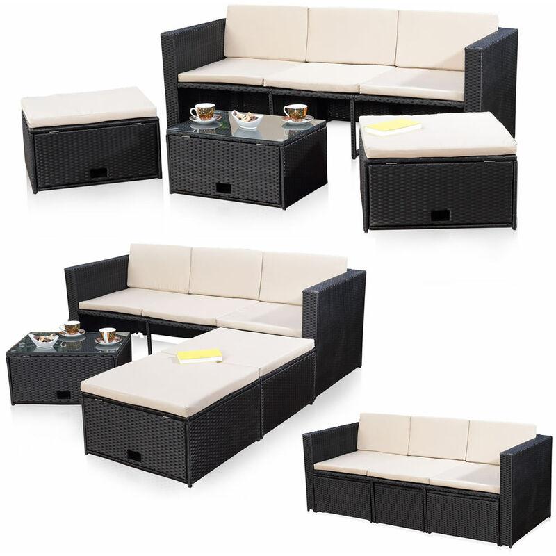 Lounge Sofa-Garnitur Gartenset, Polyrattan, mit Glastisch, inklusive Kissen, Schwarz - Melko