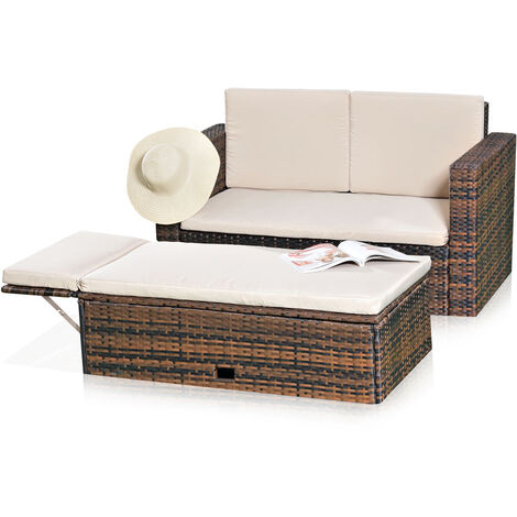 Melko Lounge sofa set garden set, poly rattan, with folding footstool, black, including cushions, multi-piece, brown