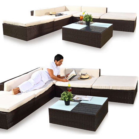 Melko Lounge sofa set garden set, poly rattan, with glass table, brown, including cushions, 16 TLG.