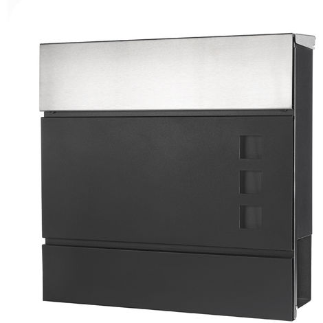 Melko mailbox with newspaper compartment stainless steel wall mailbox mailbox with protection flap and security lock Letterbox house mailbox - black/white