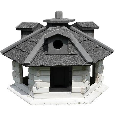 Melko Maison d'oiseaux hexagonale avec bardeaux de bitume et distributeur de nourriture blanc/gris 48 x 33 cm, prétraitée