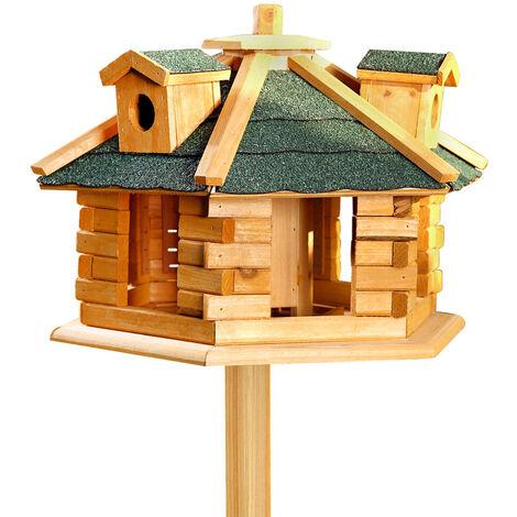 Melko Maison d'oiseaux hexagonale avec bardeaux de bitume et distributeur de nourriture en bois 48 x 33 cm, prétraitée