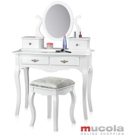 Melko Miroir de la coiffeuse avec tabouret coiffeuse blanche, 4 tiroirs inclus