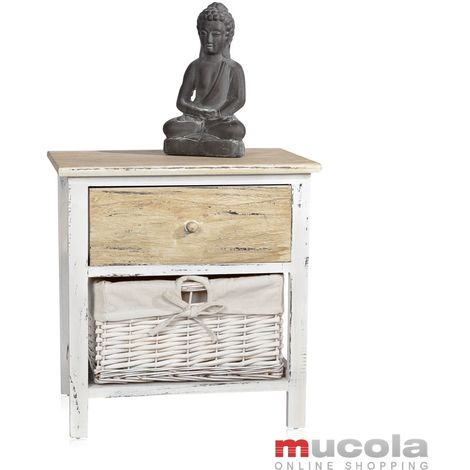Melko night console with wicker basket + drawer 40 cm x 29 cm x 42 cm (H x W x L)