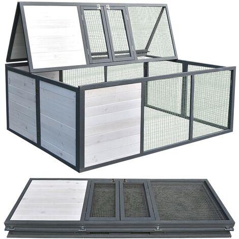 Melko outdoor enclosure folding escape barrier rabbit 160 x 119 x 60 cm wood rabbit run
