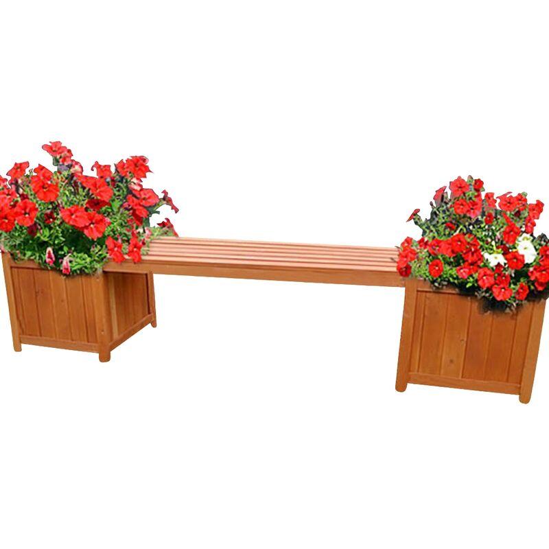 Melko panca da giardino marrone con 2 fioriere in legno parco panca in legno panca panca in legno panca ad angolo ??