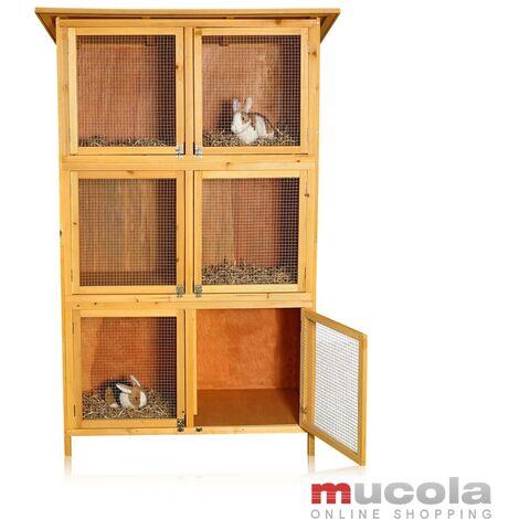 Melko Petite animalerie XXL, clapier à lapins, env. 180 x 102 x 48 cm, en bois, 3 x 2 boîtes