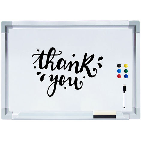 Melko pinboard 60 x 40 cm magnetic board children magnetic board with pencil tray and aluminum bars, dry wipe
