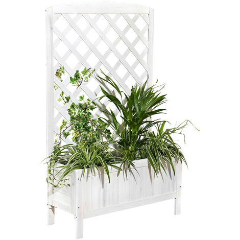 Melko planter box with trellis wood creeper plant pot with privacy protection trellis with flower box trellis box flower stand rose trellis - brown