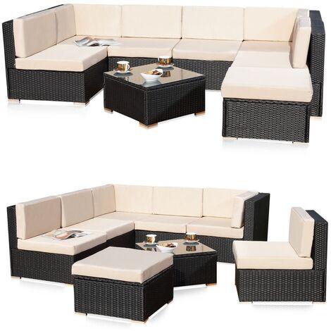 Melko Poly Rattan Seating Set Garden Set Rattan Lounge Garden Set Couch Set Couch Set Seating Set with screw-on compensation feet